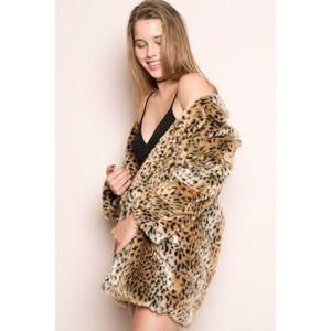 Brandy Melville Leopard Print Mica Faux Fur Jacket